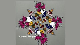 Special and creative lotus rangoli...diyaas..peacocks..11 to 3 dots...