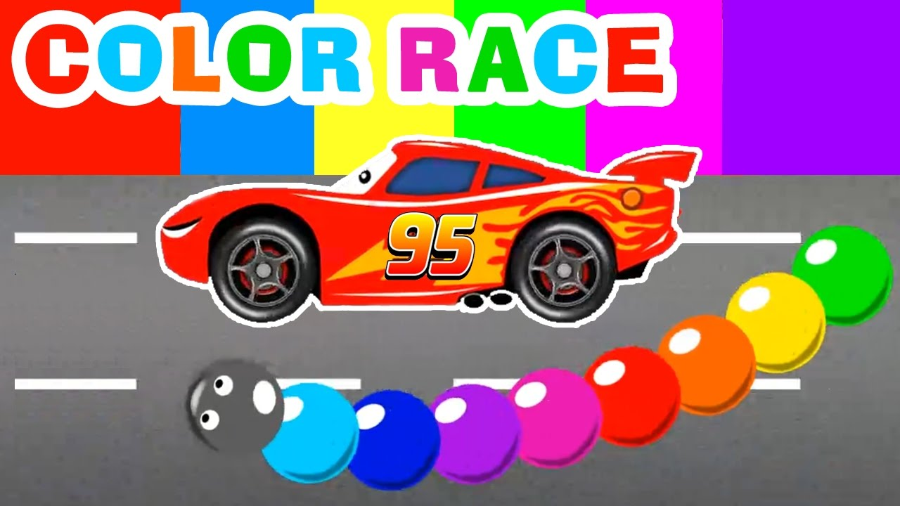 Lightning Mcqueen And Spiderman Cars Cartoon Color For Kids Race With Learn Colors For Children