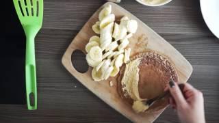 веганские блинчики с арахисовой пастой и бананами