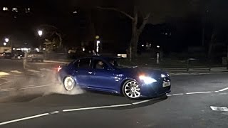 BMW M5 V10 Donuts, Drifts and NEAR CRASH on Sloane Street!