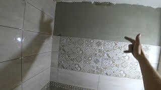 Укладка плитки на неровную (заваленую) стену. Санузел. Часть-2. Ровняем стены кафелем.