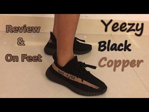 f863e9c41883f Adidas Yeezy Boost 350 v2 Black copper review + on feet - YouTube