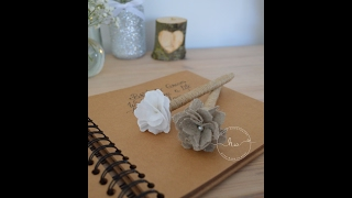 DIY rustic pen, how to make a rustic pen, guest book pen
