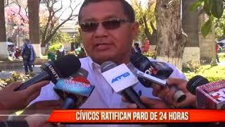 CÍVICOS RATIFICAN PARO DE 24 HORAS