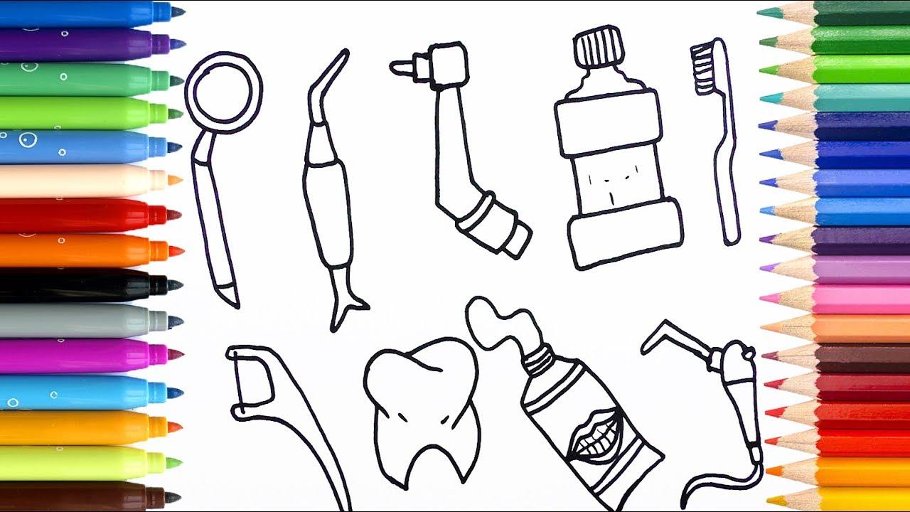 Dibuja y Colorea Los Accesorios Para Dentista - Videos Para Niños ...