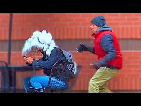 Throwing Snowballs at People Prank Part 3