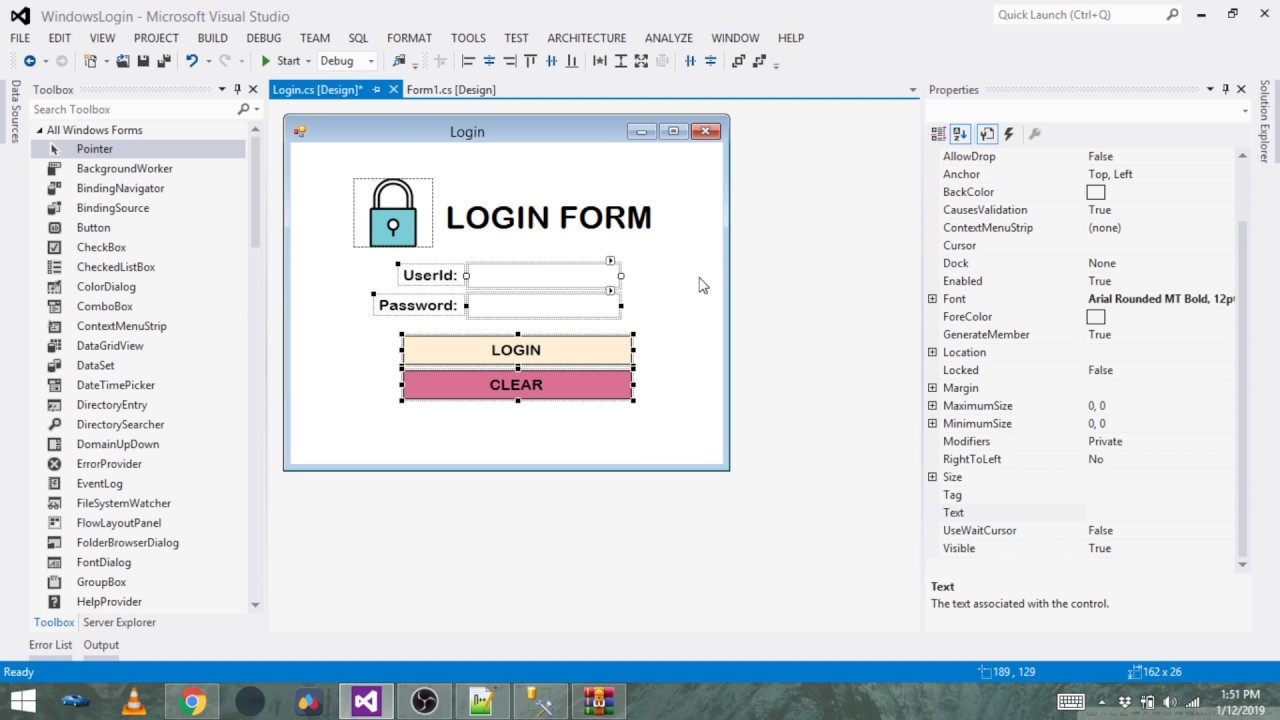 C# Windows Form Creating Login form with SQL Database • ParallelCodes