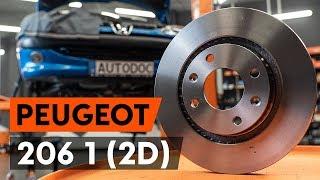Kaip pakeisti priekinių stabdžių diskas PEUGEOT 206 1 (2D) [AUTODOC PAMOKA]