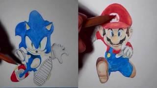 Speed Drawing - Sonic & Mario (side by side, split screen)
