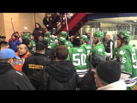 Fight at Watertown (N.Y) Wolves vs. Danbury Whalers hockey game