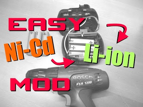 Easy Ni-Cd to Li-Ion cordless drill mod