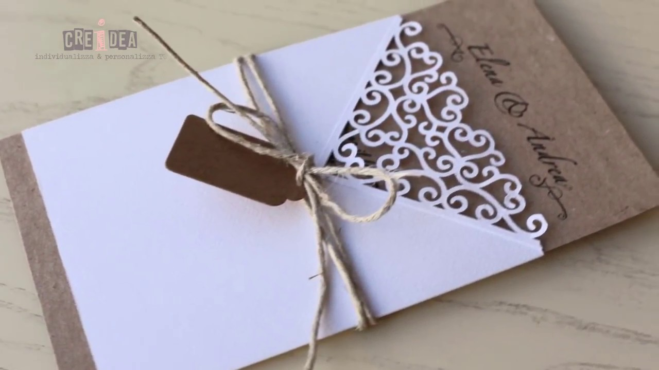 Diy Shabby Chic Wedding Invitation Card Partecipazione Matrimonio
