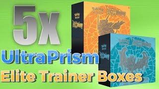 Pokemon TCG Opening 5x Ultra Prism Elite Trainer Boxes