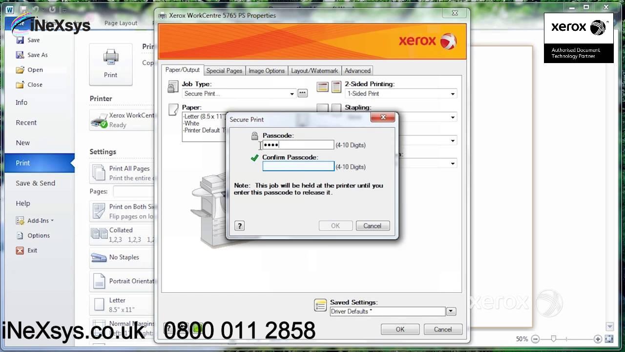 using secure print - xerox workcentre 78 series c8030 c8035 c8045 c8055 c8070 c8090