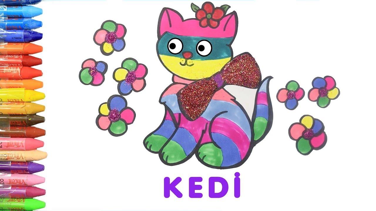 Simli Kedi Boyama Ile Renkleri Ogreniyorum Cocuklar Icin