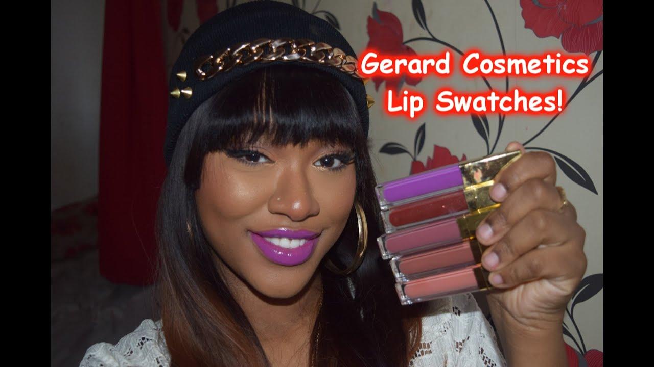 Gerard Cosmetics Lip Swatches of Lipstick & Lipglosses! - YouTube