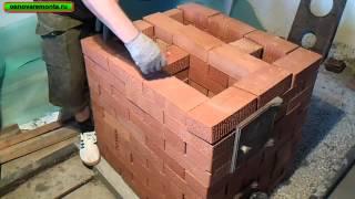 Подробная кладка печи 3х3,5 кирпича за 9 тыс. руб. 1-часть.(кухонная плита с отопительным щитком)