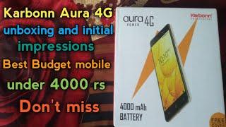 Karbonn Aura power 4G mobile unboxing Budget 4g mobile under 4000rs In telugu