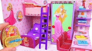 DIY Miniature Dollhouse Room: Aurora and Rapunzel Room Decor