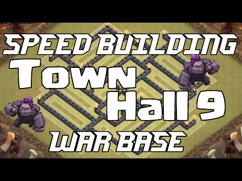 Clash of Clans | Town hall 9 war base speed build (golem trap)