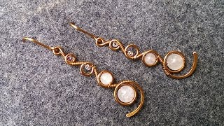 copper twisted round earrings - How to make wire jewelry 138
