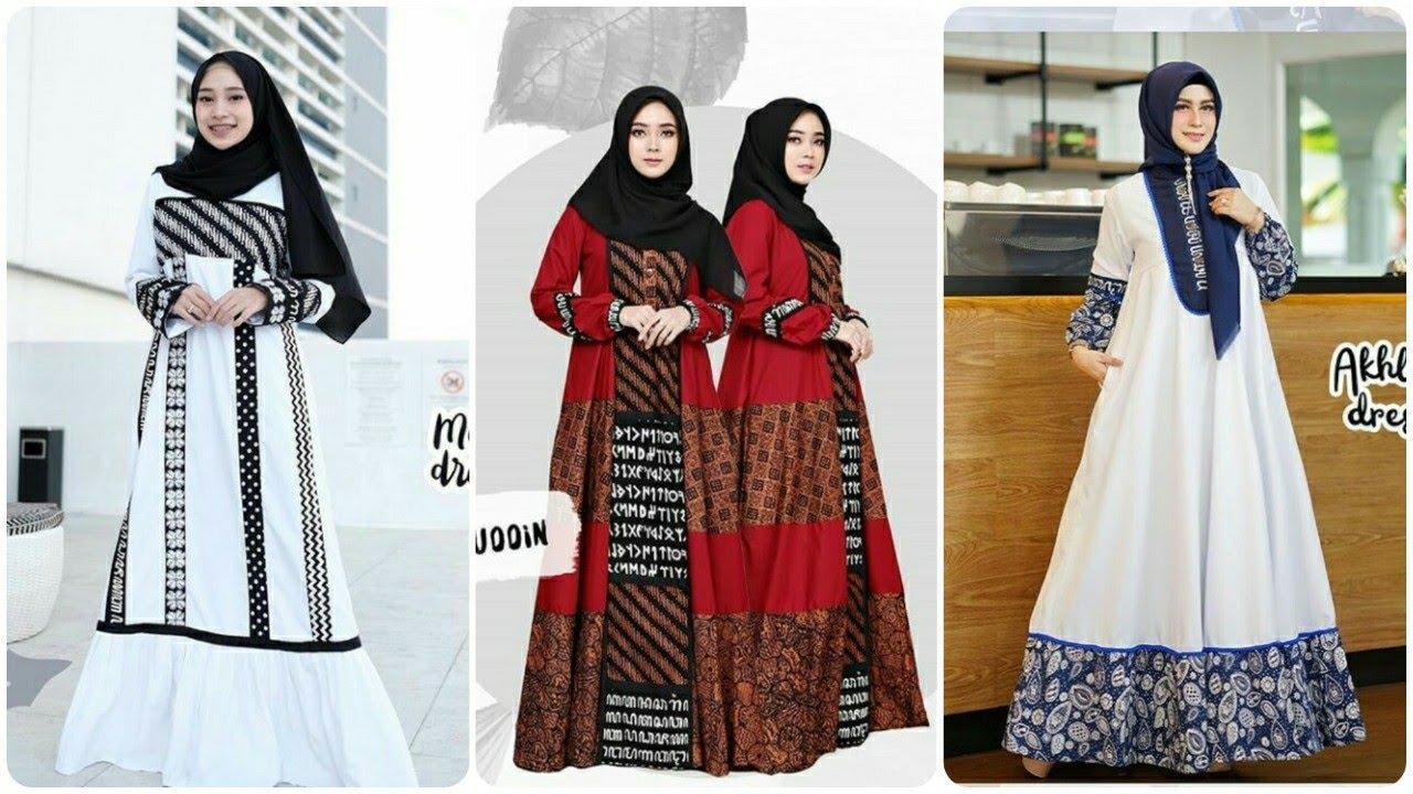 11 Model Gamis Kombinasi Batik Terbaru di Tahun 11/11 - YouTube