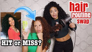 Jasmine Brown Does HER Curly Routine On My Hair! | HAIR ROUTINE SWAP