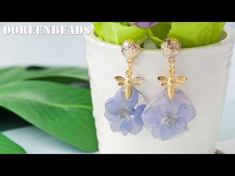 DoreenBeads Jewelry Making Tutorial - How to Make Resin Flower Earrings