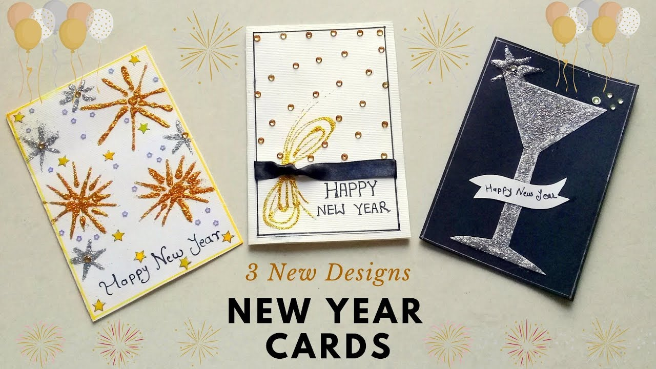 3 Easy New Year Greeting Cards | How to Make Beautiful New ...
