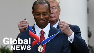 Trump presents Presidential Medal of Freedom to Tiger Woods