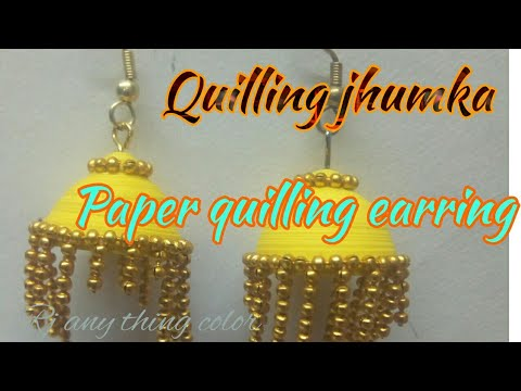 How to make paper quilling jhumkas or earring easy method Earrings Making