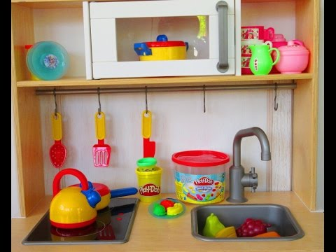 Play Kitchen Ikea toyset, Disney Frozen plates, play doh food video, juego de modelar