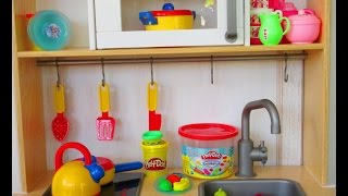 Play Kitchen Ikea toyset, Disney Frozen plates, play doh food video, juego de modelar