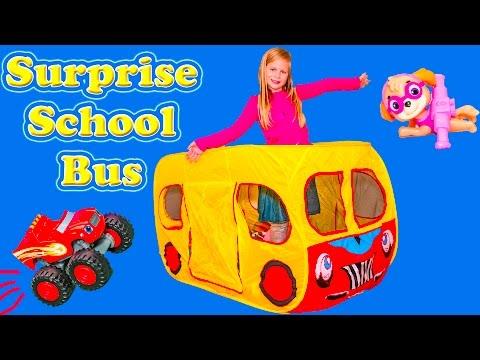 SURPRISE SCHOOL BUS Tent Paw Patrol + Blaze + Lion Guard + Peppa Pig  Worlds Largest Toys Video