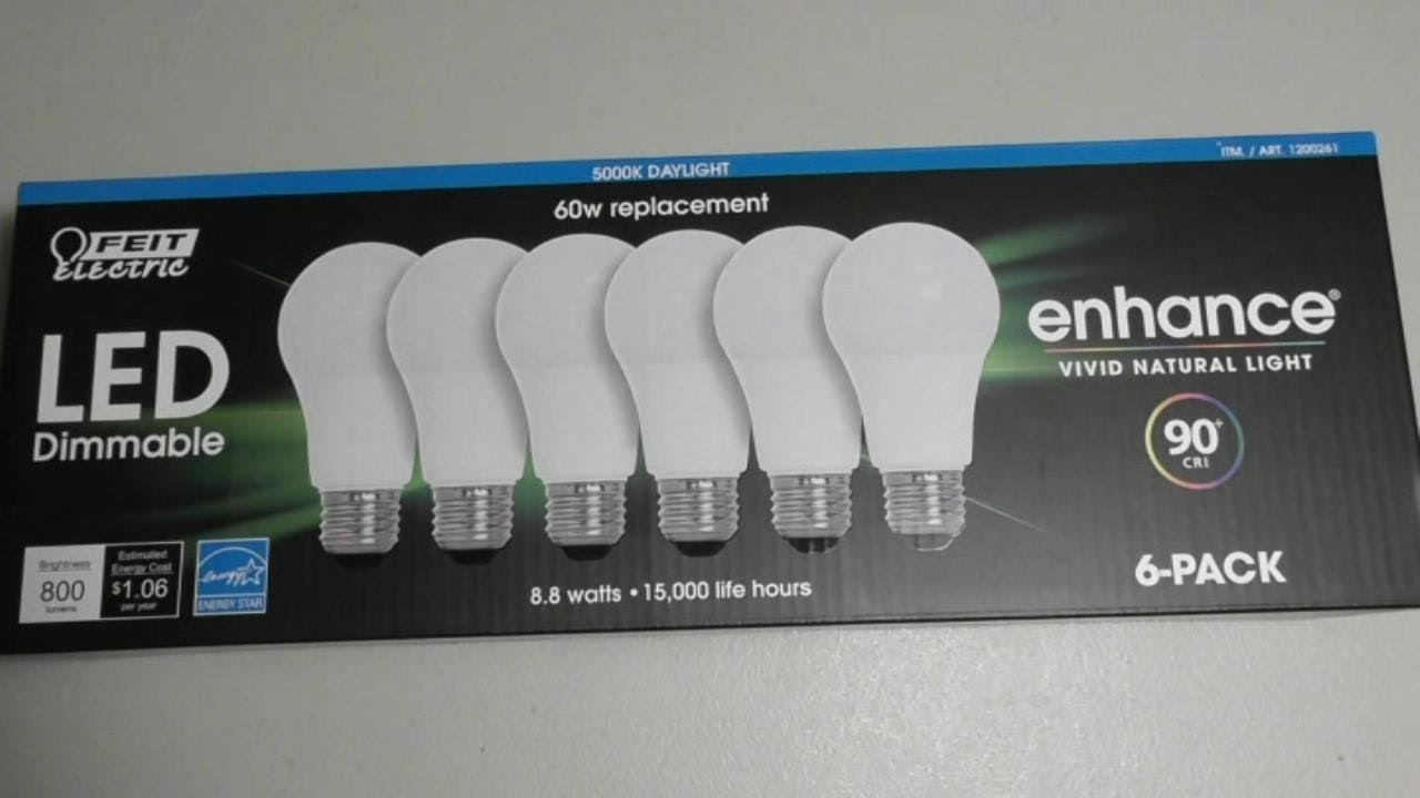 COSTCO Feit Electric 60 Watt Dimmable LED light Item # 1200261 REVIEW