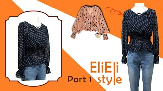 Elieli Style / 쉬폰 블라우스 퍼프 슬리브 …