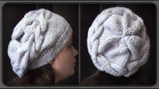 женская шапка с большой косой. вязание спицами