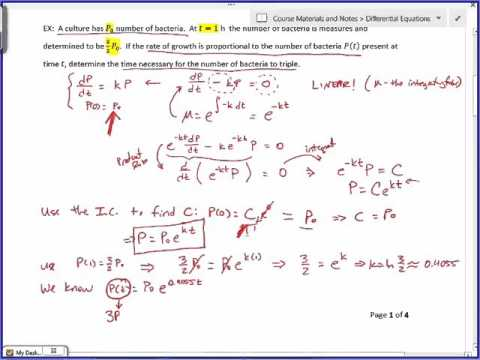 Differential Equations - 3.1 Linear Models (Lecture)