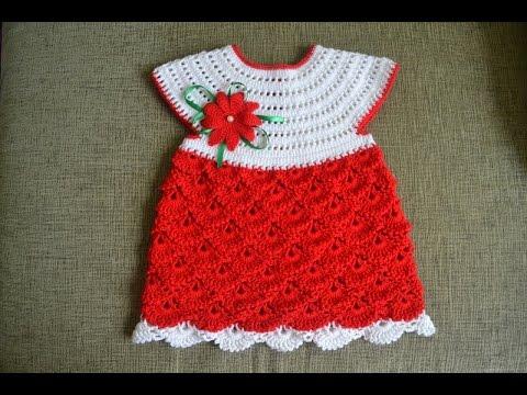 Красное платье крючком с круглой кокеткой для девочки