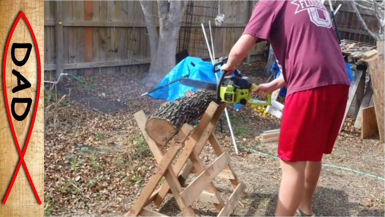 Firewood Cutting Log Holder Cradle Youtube