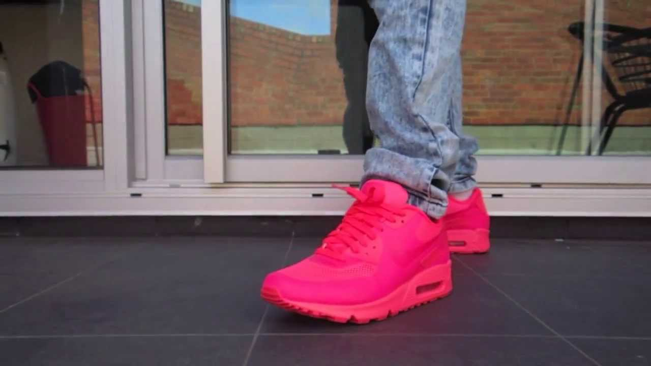 dc934c7e Nike Air Max 90 Hyperfuse Solar Red On Feet Review - YouTube