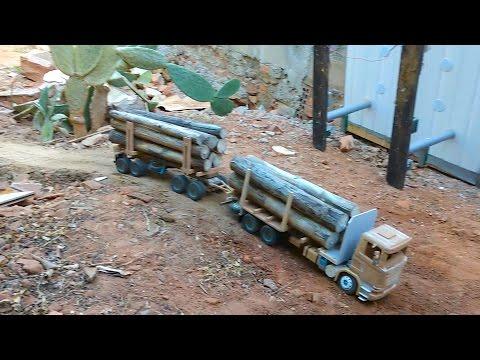 VÍDEO Miniatura Caminhão SCANIA G440 - Antes de Pintar - Mini truck - Feito de Madeira