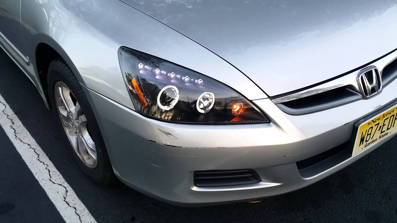 Nice 2003 2007 Honda Accord Spec D Halo Projector Headlights Review  (2LHP ACD03JM TM)   YouTube
