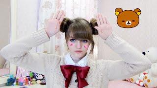 fAST EASY Odango Hairstyle Tutorial / Rilakkuma no mimi