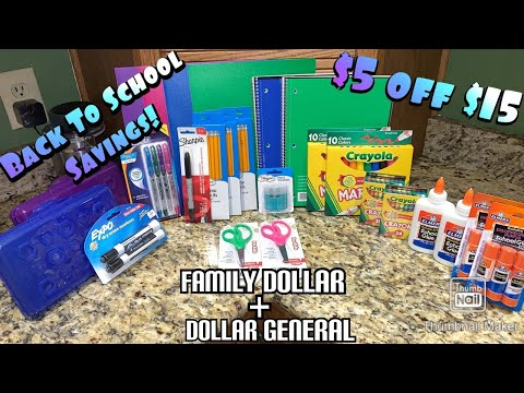 Back To School Couponing! || Family Dollar & Dollar General Deals! || $5 Off $15 School Supplies