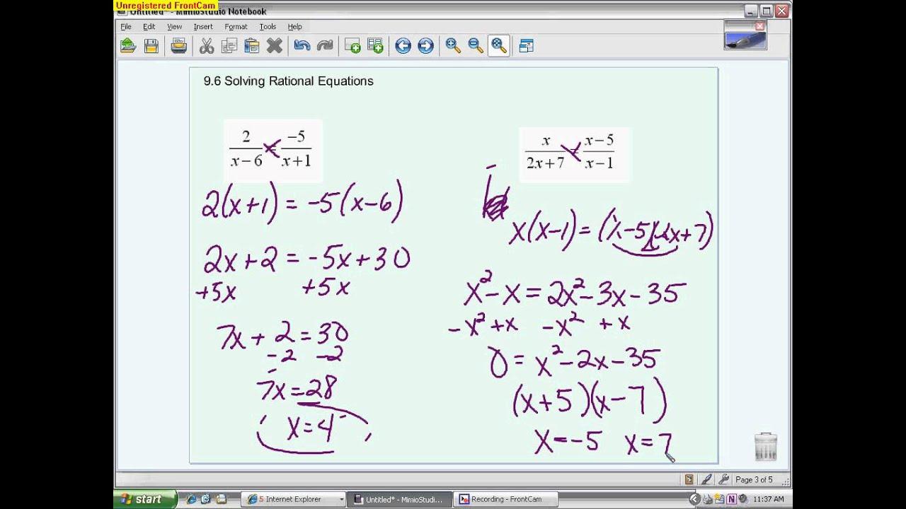 Algebra Ii Solving Rational Equations 9 6