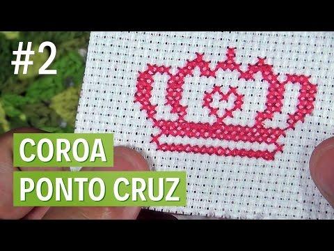 Como bordar uma coroa em ponto cruz - Parte 2