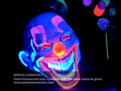 Pintura fluorescente en careta de carnaval - YouTube