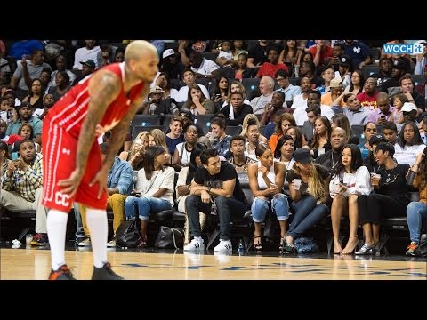 Rihanna Sits Courtside As Chris Brown Plays In Charity Basketball Match And Looks Seriously Unimpres