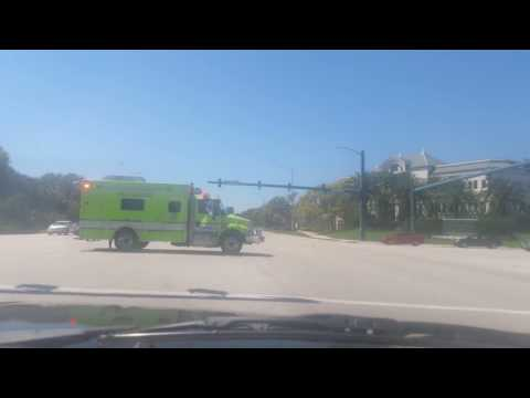 PALM BEACH GARDENS FIRE RESCUE RESCUE 62 RESPONDING CODE 3!!! with lots of airhorn and Q